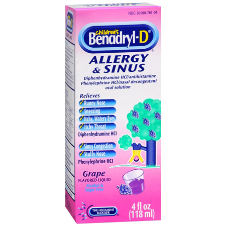 Children's Benadryl Allergy Plus Congestion Liquid 4 Hours/Dose Grape Food Product Image
