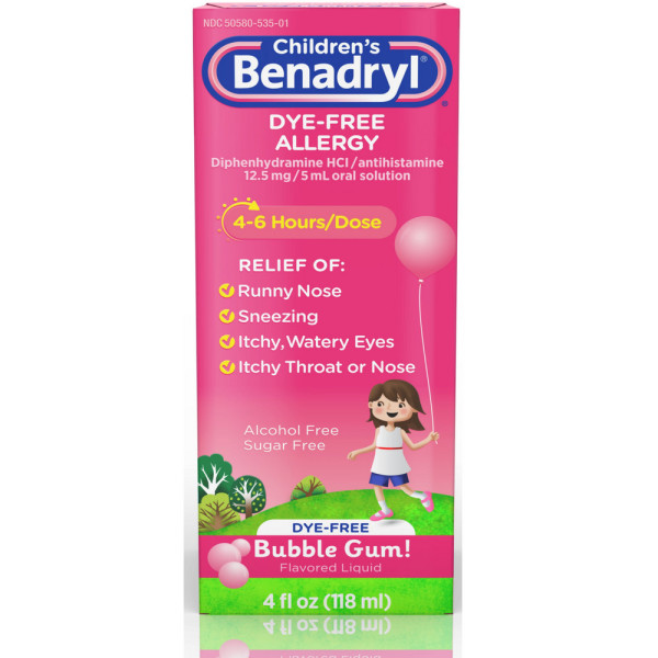 Benadryl Children's Dye-Free Allergy Flavored Liquid Bubble Gum Food Product Image