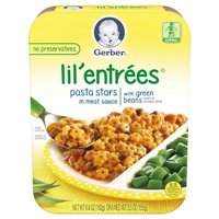 Gerber Graduates Lil' Entrees, Pasta Stars in Meat Sauce with Green Beans - 6.8oz Food Product Image