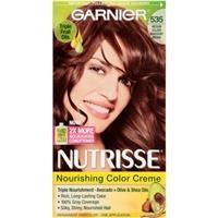 Garnier Nutrisse Hair Color 535 Medium Golden Mahogany Brown, Choclate Caramel Food Product Image