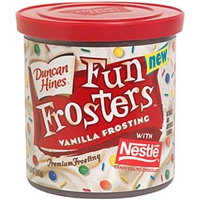 Duncan Hines Premium Frosting Vanilla Frosting With Nestle Candy Coated Chocolate Food Product Image