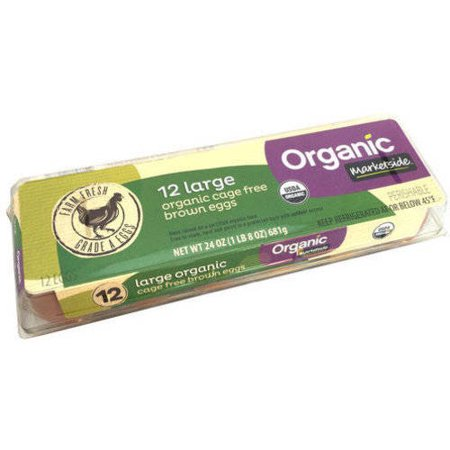 Marketside Large Organic Cage Free Brown Eggs, 12 count Food Product Image