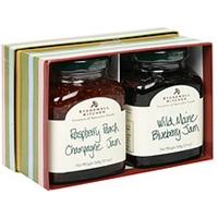 Stonewall Kitchen Jam Stripes Set Wild Maine Blueberry Jam And Raspberry Peach Champagne Jam Food Product Image
