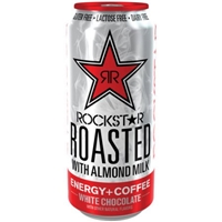 Rockstar Roasted White Chocolate Latte with Almond Milk Energy + Coffee Drink Food Product Image