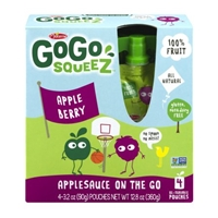 Materne GoGo Squeez Applesauce On The Go Pouches Apple Berry - 4 CT Food Product Image